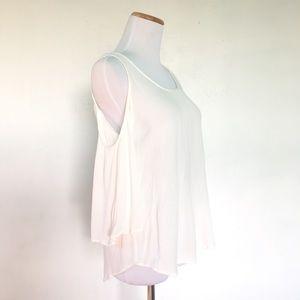 Xhilaration Tops - Xhilaration  White Flowy Boho Cold Shoulder Top